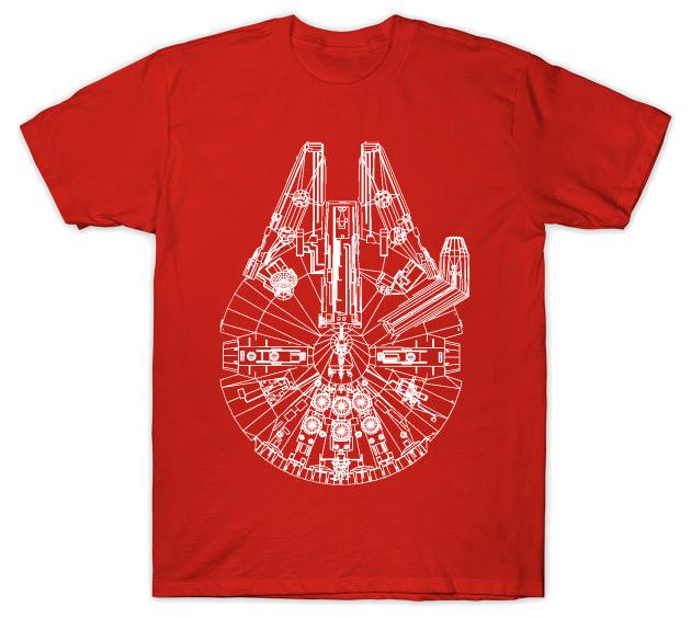 3D Millennium Falcon Red T-Shirt
