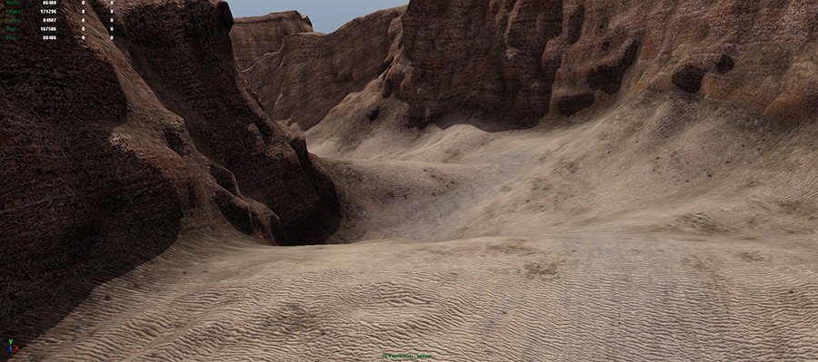 Mirena Rhee - terrain sculpting and painting of a desert canyon with Maya and Mudbox