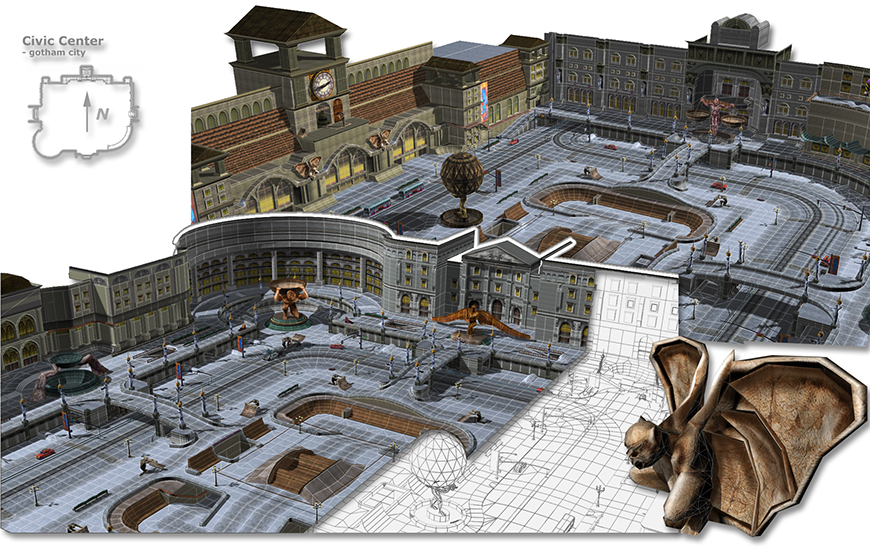 Mirena Rhee - architecture and 3d modeling for Civic Center - Aggressive Inline for PS2