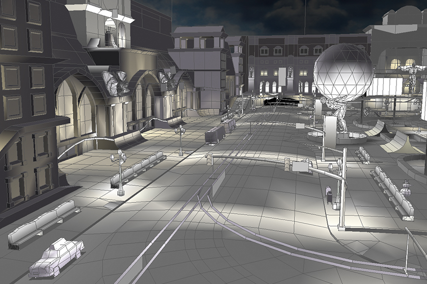 Mirena Rhee - Environment Art for Civic center - wireframe
