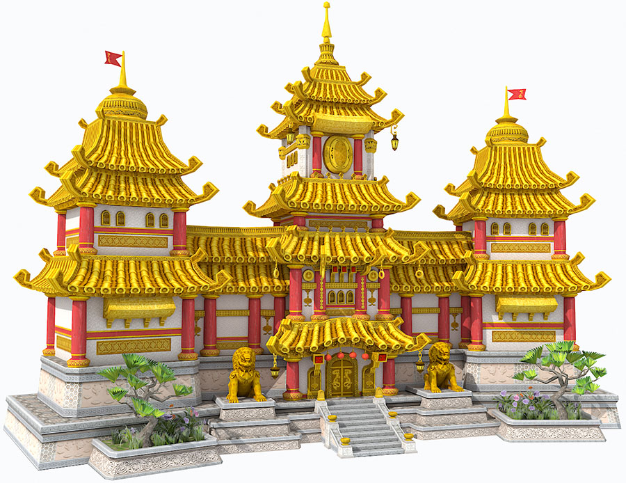 Mirena Rhee - Fantasy Golden Palace original 3D artwork - rendered with Vray