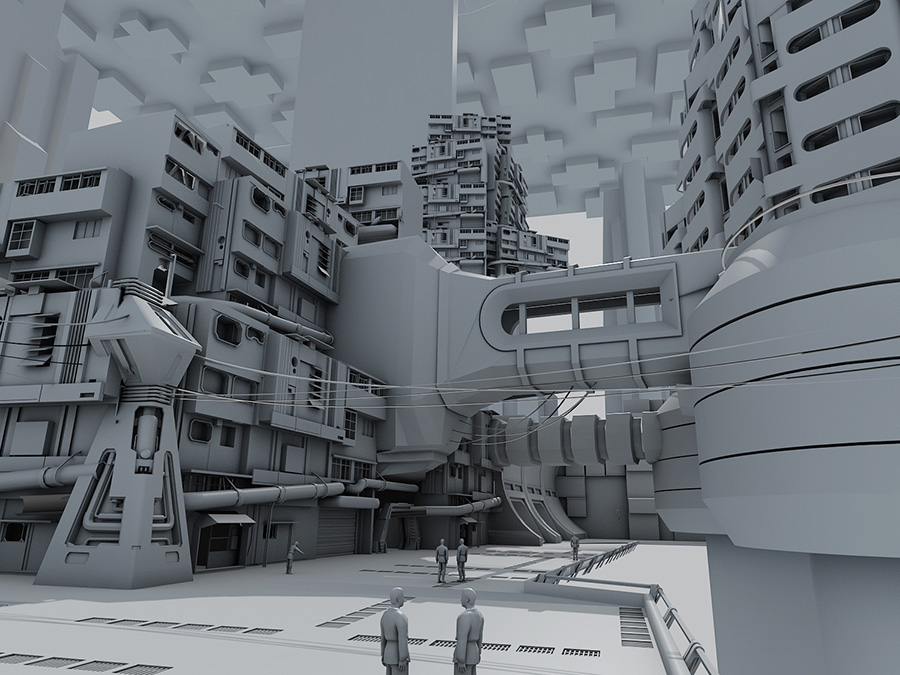 Star Wars: Coruscant 3D Building modules by Mirena Rhee