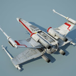 Star Wars X-Wing Starfighter 3D Model with foldable S-foils